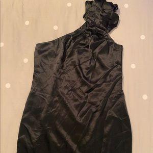 7 for all mankind black silk dress size medium